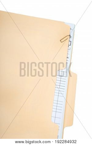 Document folder manila yellow envelope on white background object