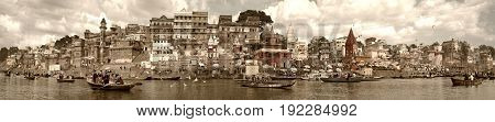 panorama of the waterfront city of Varanasi taken in India in November 2009