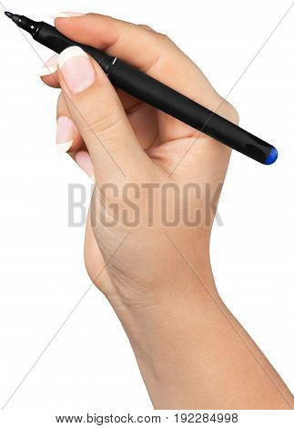 Female hand ready to draw copy space front view