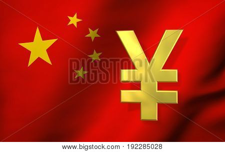 China economy concept with Yuan Renminbi currency symbol and Chinese flag on background 3D illustration.