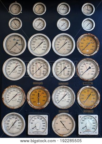 Round industrial dials and sensors in vintage retro style USA