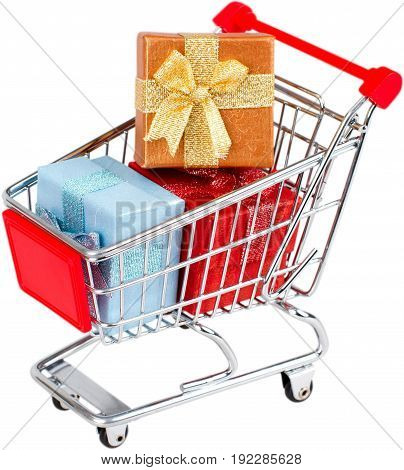 Shopping cart gifts color image red white