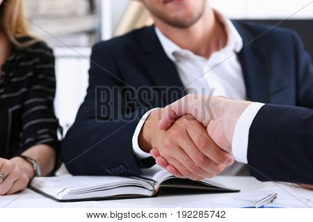 Group Business Peoples Shake Hands As Hello In Office Closeup