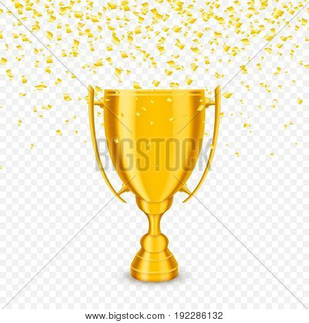 Gold cup with falling tiny confetti. Vector.