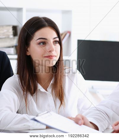 Beautiful smiling businesswoman portrait at workplace look in camera. White collar worker at workspace exchange market job offer irs certified public accountant internal Revenue officer concept