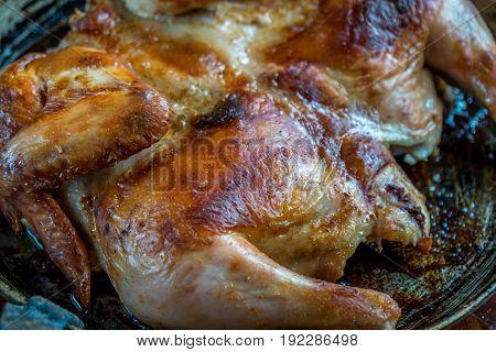 Roasted Chicken On Iron Pan, Homemade Food