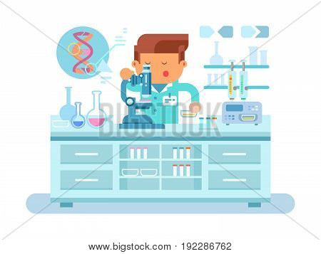 Genetics doctor during work at laboratory. Medical research, test science, biology laboratory, lab scientific, flat vector illustration