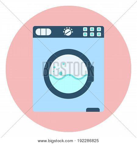 Flat blue washing machine icon vector washer symbol