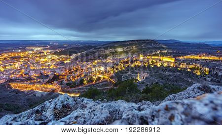 Wide angle view at dusk time of Cuenca, Spain