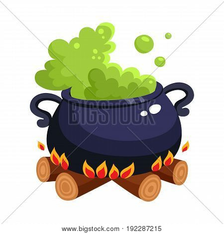 Halloween caldron, cauldron with boiling green potion on wood fire, cartoon vector illustration isolated on white background. Cartoon style Halloween caldron with magic green potion boiling inside