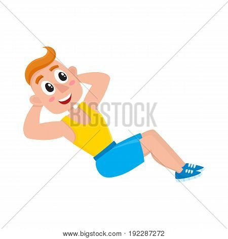 Young man doing sit ups, sport exercises, training in gym, cartoon vector illustration isolated on white background. Cartoon man, guy doing fitness exercises, sit ups in gym