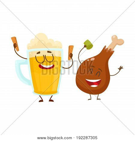Funny beer mug and fried chicken leg characters having fun, cartoon vector illustration isolated on white background. Funny smiling beer mug and chicken leg, drumstick having party together