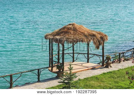 Over water bungalows with lagoon on sea