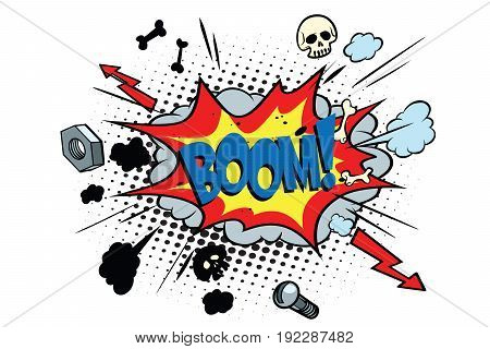 boom comic pop art bubble. retro vector illustration