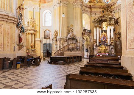 KRTINY, CZE - 15th JUNE 2017 Interior monastery in Krtiny Czech Republic. Virgin Mary Baroque monument. Architecture Jan Santini Aichel. Church monastery in Krtiny Czech Republic.