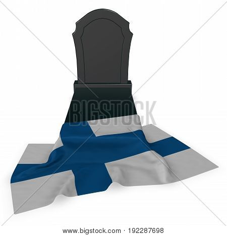 gravestone and flag of finland - 3d rendering