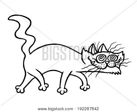 Sinister cat. Vector illustration. Funny pet character.