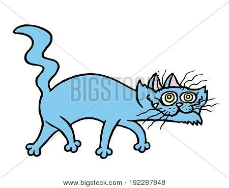 Cartoon evil cat preys. Vector illustration. Funny animal character.