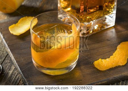 Cold Alcoholic Old Fashioned Bourbon Whiskey Cocktail