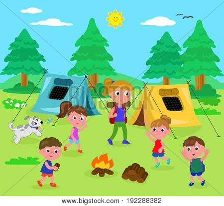 Camping kids and woman in wood with tents cartoon vector illustration