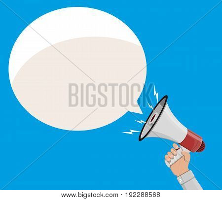 Loudspeaker or megaphone in hand and speech balloon. Announcement element. Vector illustration in flat style