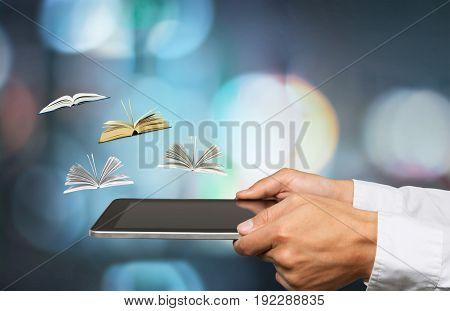 Holding male hands digital tablet color business
