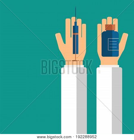 Doctor's hands holding syringe and pills in bottle for his patient. Healthcare concept. Vector illustration.