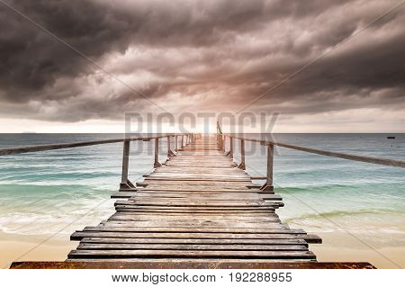Sea Wooden Relax Bridge.
