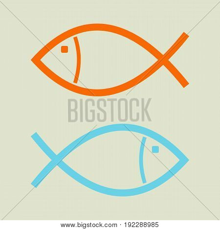 The concept of business opposition. Two fish swim in the opposite direction.