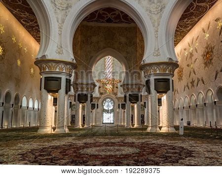 Interior view to Sheikh Zayed Mosque in Abu-Dhabi UAE