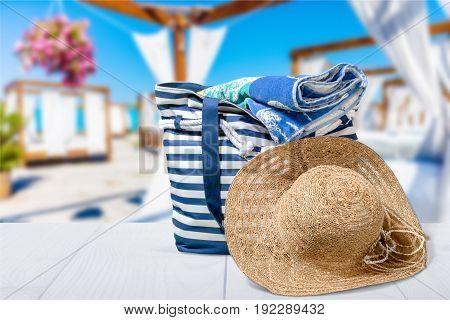 Bag sun hat beach straw hat leisure white