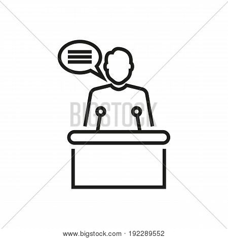 The speaker from a rostrum vector illustration on white background.