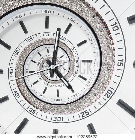 Futuristic modern strass diamond white clock watch abstract fractal surreal spiral. Watch clock unusual abstract texture pattern fractal background. Modern stylish fractal clock Helix abstract watch