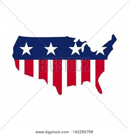 Vector illustration of the United States of America map on white background.
