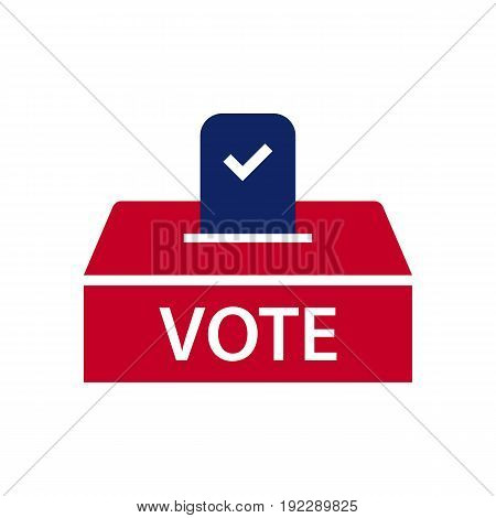 Ballot box vector illustration with the mark on it on white background.