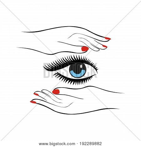 Fashion or health care concept. Female hands with red manicure protect women eye with long lashes. Vector illustration.