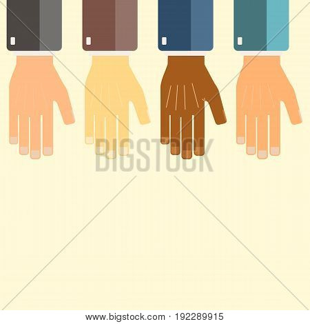 International business group united hands together. Joining teamwork concepts. Collaborative project. Vector illustration.