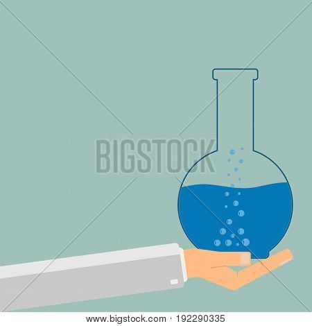Hand holding test tube with blue liquid. Science and education. Vector illustration.