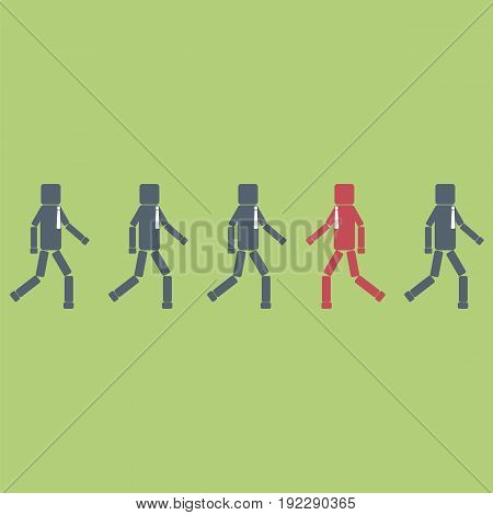 Opposition concept. One red businessman figure walking contrary to a group. Vector illustration.