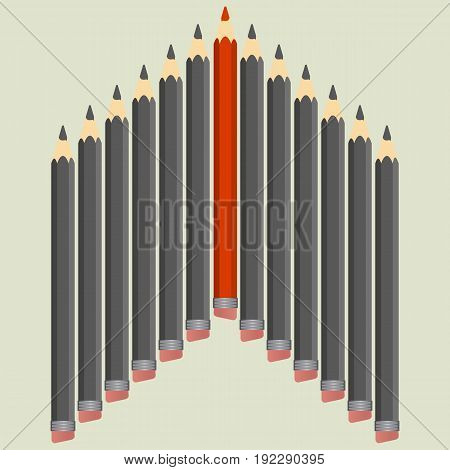 Leadership concept. Group of black pencils with red one. Vector illustration.