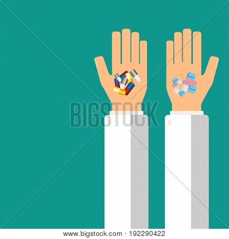 Doctor's hands holding pills for his patient. Healthcare concept. Vector illustration.