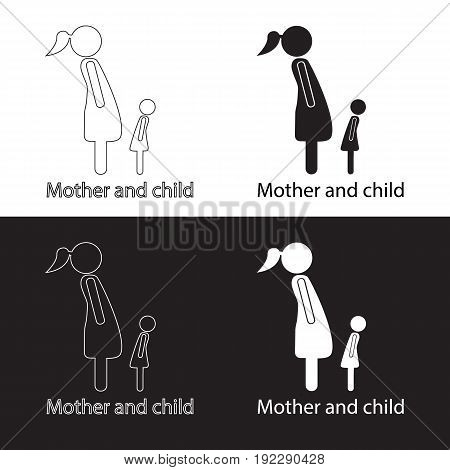 Mother breastfeeding her baby stylized symbol. Vector icons