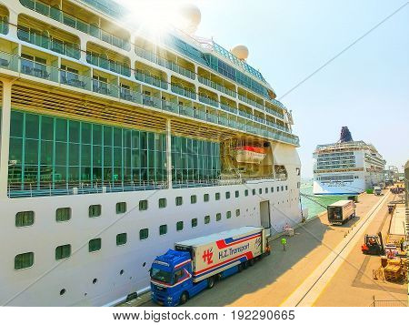 Venice, Italy - June 06, 2015: Cruise ship Splendour of the Seas by Royal Caribbean International at port Venice, Italy on June 06, 2015