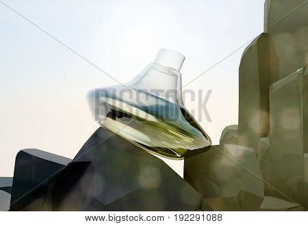 Perfume bottle located on the rocks. 3D illustration