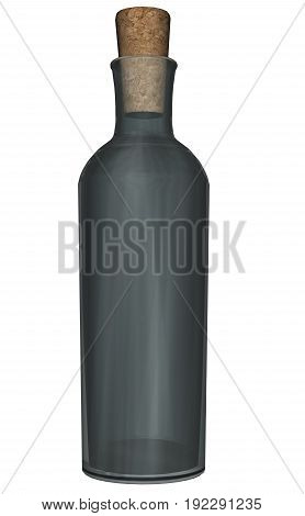 Green glass bottle closed with cork isolated in white background - 3D render