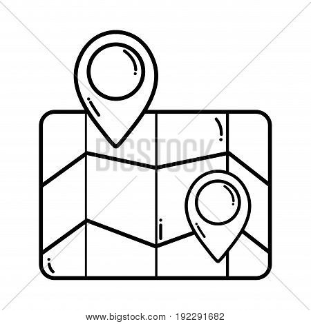 line geography map with points to location vector illustration