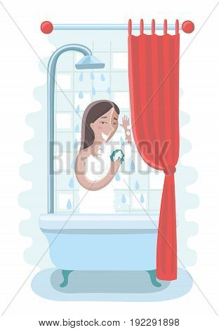 Vector cartoon illustration of a woman taking a shower in the bathroom