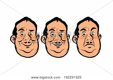 Three emotions head fat. Laugh smile and anger. Comic cartoon style pop art retro vector illustration