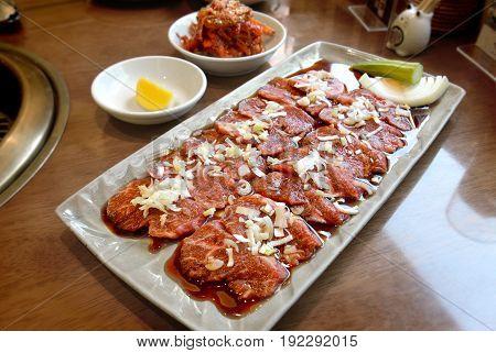 Japanese Raw Beef Set Or Kobe Beef Grill Set.