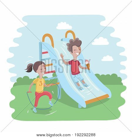 Vector illustration of kids on playground. Cute boy is sliding children slide and happy girl is jumping rope